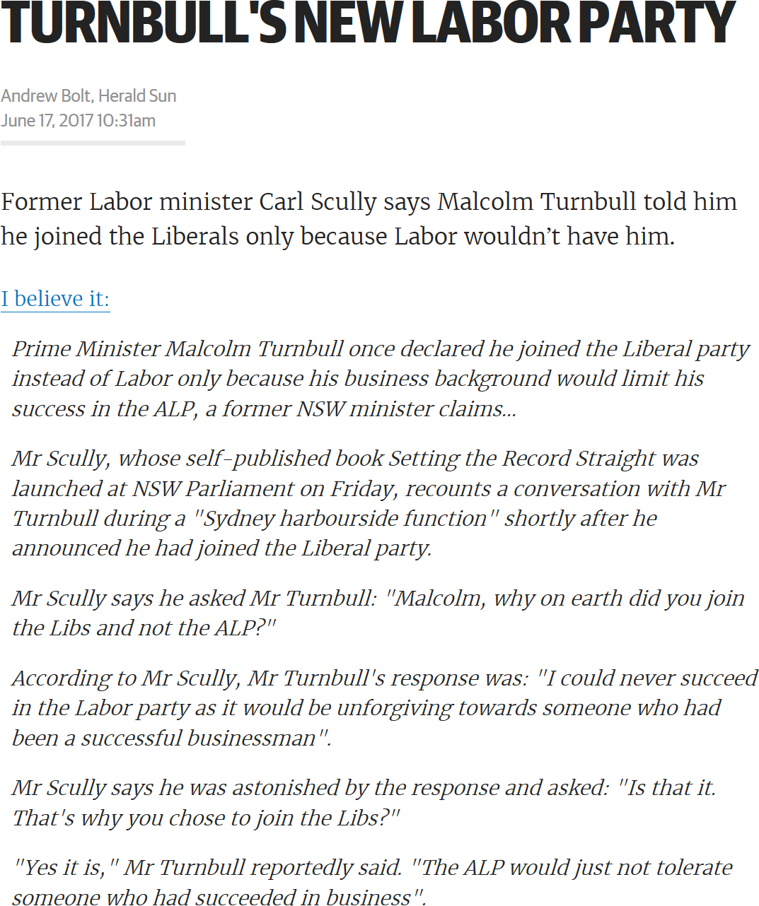 Turnbull's New Labor Party by Andrew Bolt, Herald Sun