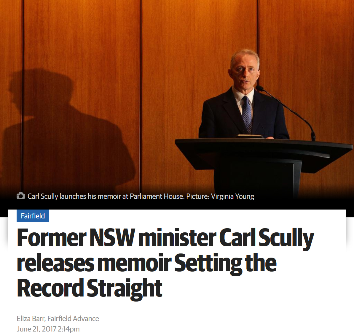 Former NSW minister Carl Scully releases memoir Setting the Record Straight